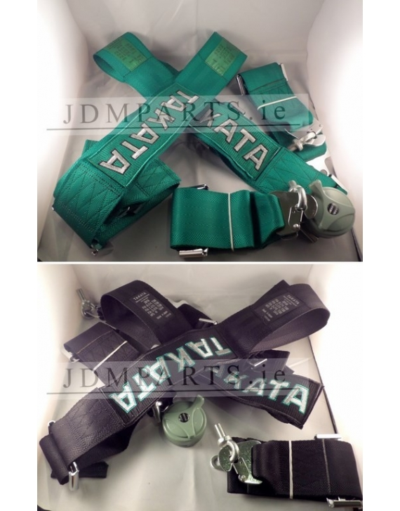 """TAKATA 4 Point Snap-On 3"""" Harness BLACK / GREEN"""